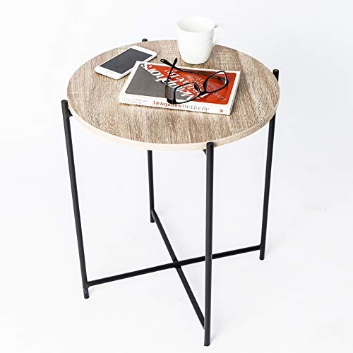 Laminate Occasional End Table - C-Hopetree Side Table Small Round Occasional Accent End Coffee Table for Living Room, Industrial Vintage Wood Look, Black Metal Frame