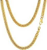 FindChic Chunky Cuban Link Curb Chain Necklace for Men 18K Gold Plated/Stainless Steel/Black Hip Hop Link Chai