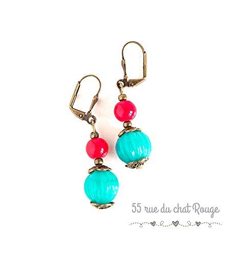 Pendientes colgantes de estilo antiguo, perlas de India turquesas y rojas