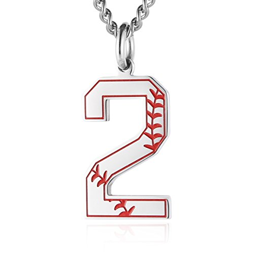 - HZMAN Baseball Initial Pendant Necklace Inspiration Baseball Jersey Number 0-9 Charms Stainless Steel Necklace (2 - Silver)