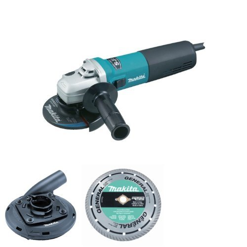 Makita 9565CV 120V Variable Speed Angle Grinder, 5-Inch with 4-1/2-Inch - 5-Inch Dust Shroud and 5-Inch Turbo Rim Diamond Masonry Blade