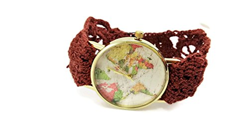 Homemade Costume Ideas For Work (Ladies unique brown world map wrist watch / Hand embroidered crochet vintage bracelet /Mother-in-law gift)