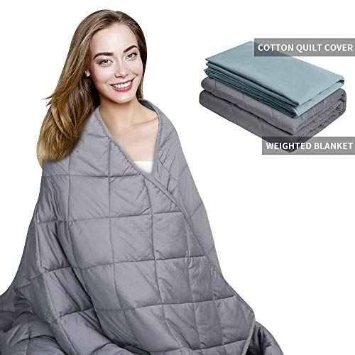 Cheap AMYHOMIE Weighted Blanket & Removable Duvet Cover 2.0 Heavy Blanket Premium Cotton with Glass Beads (Gray 48 x72 15lbs) Black Friday & Cyber Monday 2019