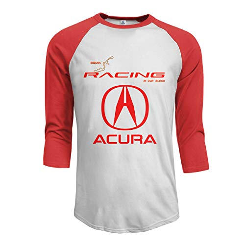 Quickhand Men's Acura Genba Sportstyle Raglan Baseball 3/4 Sleeve T-Shirts Printed Athletic Shirt Red