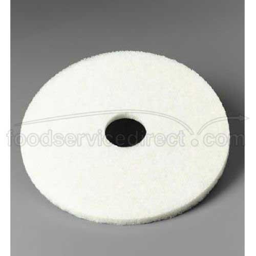 3M Low Speed White Super Polish Floor Pad, 15 inch - 5 per case.