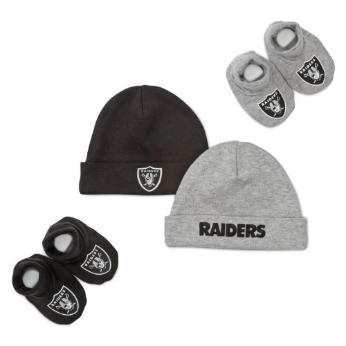NFL Los Angeles Raiders Boy's 2 Cap and 2 Booties Accessory Set, 0-6 Months, Black
