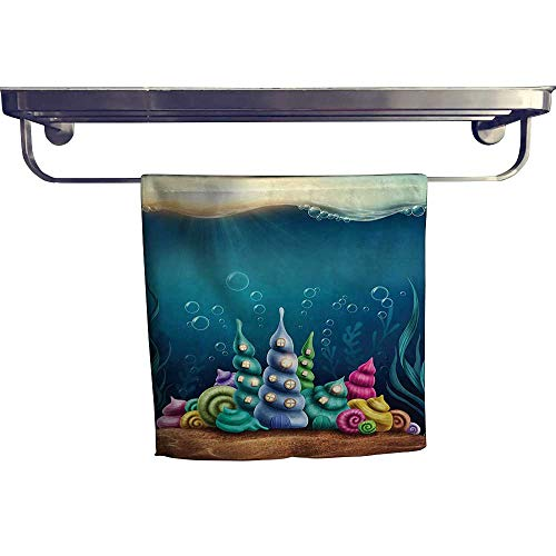 (HoBeauty home Cotton Beach Towel,Underwater Fantasy Kingdom with Shell Houses Water Bubbles Cartoon Illustration Print Teal,Absorbent, Machine Washable, Towel W 10
