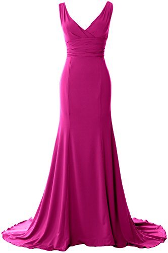 Simple Neck MACloth Elegant Dress Evening Mermaid Formal Prom Gown Jersey Fuchsia V 6gwB1Ixw