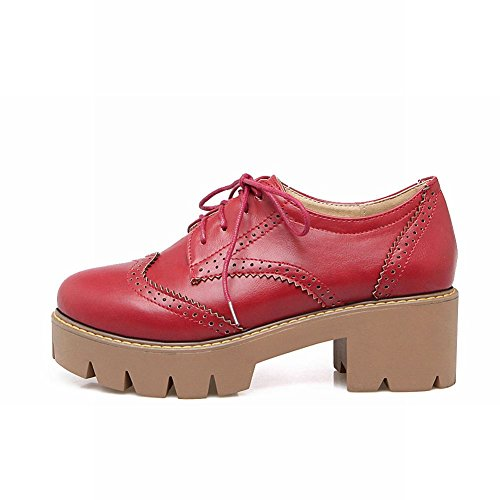 Latasa Womens Lace-up Chunky Heel Oxford Shoes Red 9F4HPVpc
