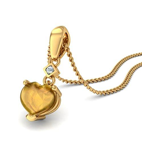 14K Or jaune 0,02ct tw Round-cut-diamond (IJ   SI) et citrine Buff Top Pendentif en forme de cœur