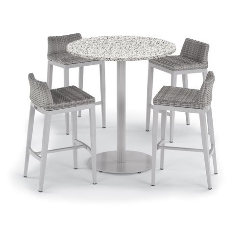 Oxford Garden Travira 5 -Piece 36-Inch Round Bar Table and Argento Side Rails Bar Stool Set - Powder Coated Steel and Aluminum Frame - Resin Wicker Argento Chair - Lite-Core Ash Table Top (Side Chair Oxford Classic Garden)