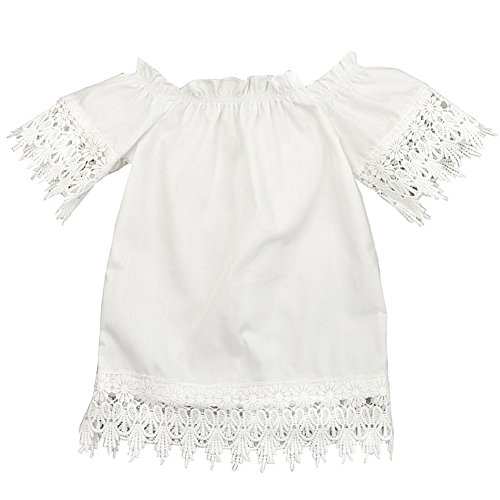 GRNSHTS Baby Girls White Off Shoulder Lace Dress (3-4 Years, -