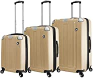 Mia Toro Italy Accera Hardside Spinner Luggage 3 Piece Set,champagne, One Size