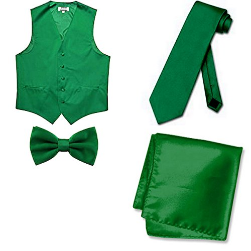 Oliver George 4pc Solid Vest Set-Emerald Green-2XL