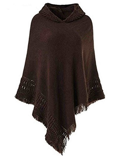 SUNNYME Women Solid Color Poncho Hooded Fringes Crochet Shawl Capes Cover Up Cardigan Coffee One -