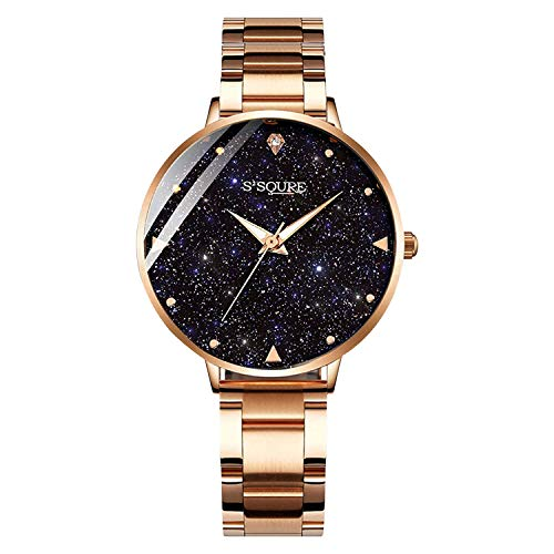IK Colouring Women Quartz Watch, Rhinestone Starry Sky Dial Ladies Wrist Watches Mesh Band Watch (Rose Gold) (Rhinestone Guess Watch)