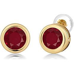2.10 Ct Round 6mm Red Ruby 14K Yellow Gold Stud Earrings