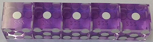STICK (5) OF NEW PURPLE PRECISION CUT DICE 19MM WITH SERIAL NUMBERS