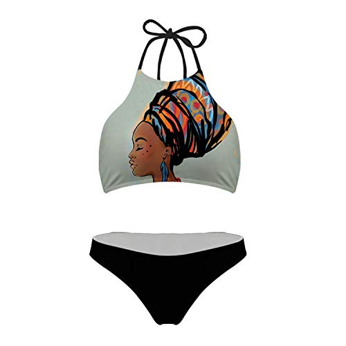 (Mumeson Women Boho African Woman Profile Print High Neck Strappy Bikini Swimsuit Mesh Lining Quick Dry, S)
