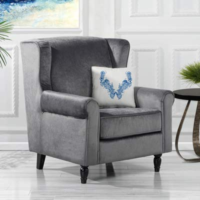 Classic Scroll Arm Velvet Fabric Accent Chair, Living Room Armchair (Grey) - Large comfortable velvet fabric armchair, the perfect accent chair for your reading nook or living room Upholstered in comfortable and durable velvet with scroll arms details to provide a more plush and sophisticated look with dark wooden legs. This accent chair also has high density foam seat cushion for extra comfort - living-room-furniture, living-room, accent-chairs - 41taabXBn9L. SS400  -
