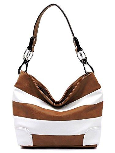 Brown Striped Handbag (Elphis Striped Classic Shoulder Bag Hobo Bucket Day Handbag Snap Hook Purse (Camel/White))