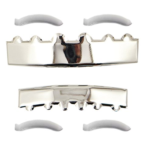 [24K White Gold Plated Solid Bar Grillz + 2 EXTRA Molding Bars] (2 Person Halloween Costumes For Kids)