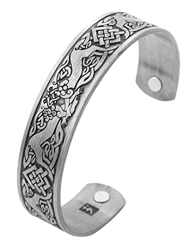 Norse Viking Wolf Fenrir Cuff Bracelet Celtic Knot Magnetic Therapy Cuff Bangle for Men