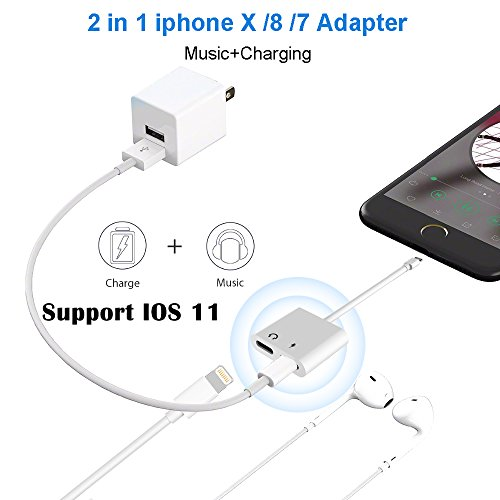 iPhone X/8 Adapter Splitter, Fourcase Dual Lightning Headphone Audio and Charge Adapter for iPhone X / 8 / 8 Plus, iPhone 7 / 7 Plus