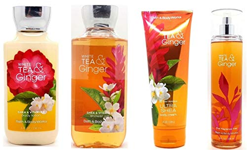Bath and Body Works White Tea & Ginger Deluxe Gift Set ~ Body Cream ~ Body Lotion ~ Shower Gel & Fine Fragrance Mist Full - White Ginger Scent