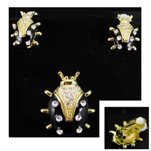 Broach & Cllip-on Earrings ~ Black & Gold Ladybugs ~ Clear Rhinestone Accents