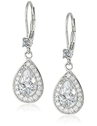 Platinum-Plated Sterling Silver White Multi-Stone Cubic Zirconia Earrings (0.4 cttw)