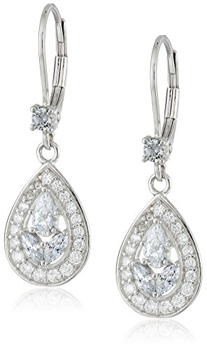 - Platinum-Plated 925 Sterling Silver White Multi-Stone AAA Cubic Zirconia Earrings (0.4 cttw)