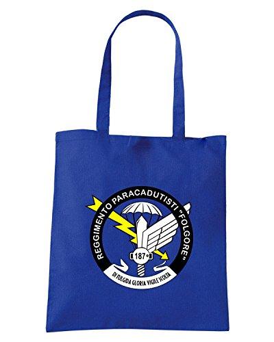 T-Shirtshock - Bolsa para la compra T0317 Regimento paracadutisti folgore militari Azul Real