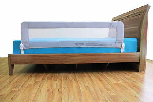 Toddler Bed Rail Guard for Convertible Crib, Kids Twin, Double, Full Size Queen & King (Grey-XL)