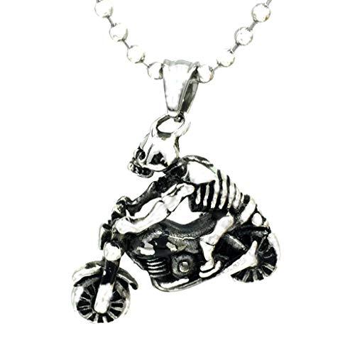 Fashion Gothic Punk Motorbike Skeleton Necklace Pendant Gift Jewelry Chain