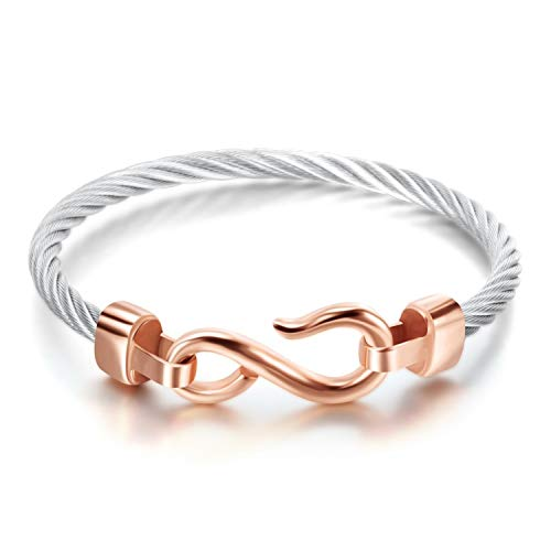 Designer Inspired Titanium Stainless Steel Vintage Signature Twisted Cable Bracelet Bangle (Rose Gold Infinity Hook)