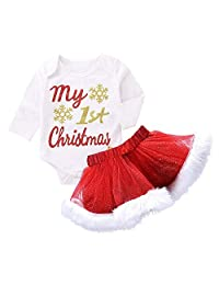 My First Christmas Outfits, Vinjeely Baby Girls Letter Romper+Tutu Skirt