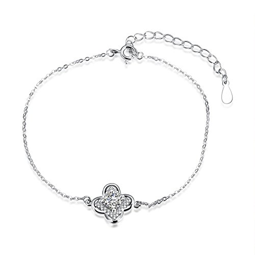 Eye Candy Couture Costumes (iCAREu 925 Sterling Silver Floral Zircon Adjustable Bracelet for Women, Girls, 8