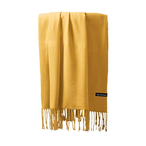 Womens Large Soft Cashmere Feel Pashmina Shawls Wraps Light Scarf in Solid Colors Yellow