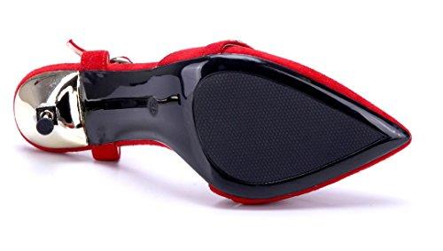 Schuhtempel24 Damen Schuhe Sandaletten Sandalen Stiletto Ziersteine 11 cm High Heels Rot