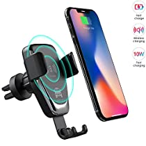 Wireless Car Charger Phone Mount, 2 in 1 Car Air Vent & Dashboard Universal Phone Holder Fast Charging Compatible with iPhone 8/8 Plus/X/XS/XR/XS MAX, Samsung Galaxy and All QI-Enabled Smartphone