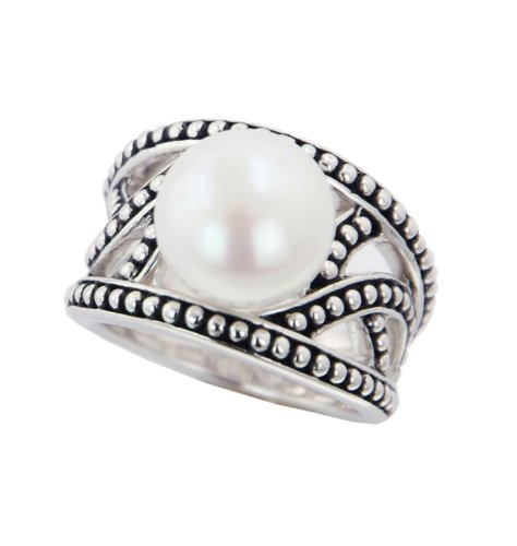 Honora Pallini Sterling Silver and White Button Freshwater Cultured Pearl Ring LR5518WH7