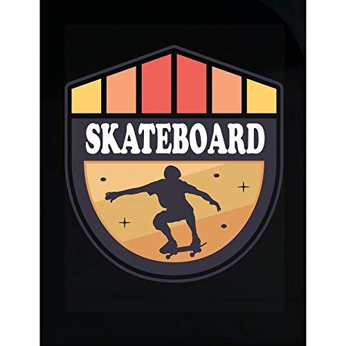 Americas Best Buys Retro Skateboard Gift Skater Half Pipe Graffiti Paint Stripe Art SK8 - Transparent Sticker ()