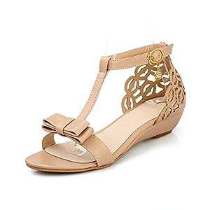 Susanny Ankle Buckle Strap Bowknot Women Wedge Sandals Elegant Summer Apricot Open Toe Dress Shoes 10 B (M) US