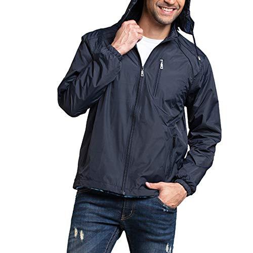 - YOcheerful Men Coat Gilet Waterproof Hooded Pullover Solid Raincoat Poncho Trendy Rain Jacket Rain Coat (Dark Blue,US-2XL/label-3XL)