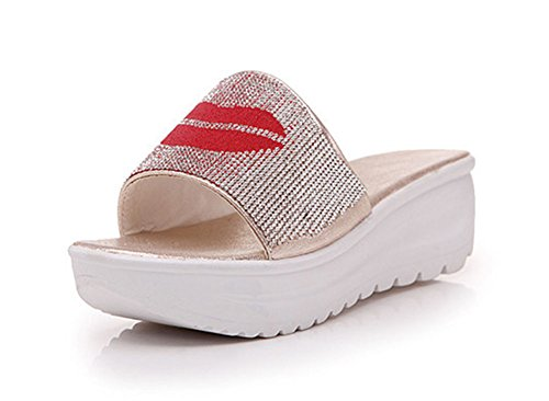 Aisun Womens New Casual Rhinestone Red Lips Thick Sole Slide Sandals Gold wVXpDHDG