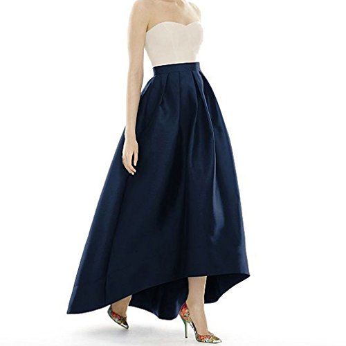 (DreamSkirts Women's Taffeta Maxi Skirts Front Short Long Back High Waist Fomal Prom Party Skirts with Pockets Navy Blue)