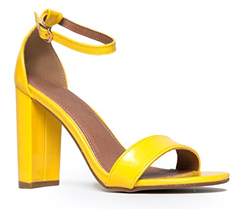 Yellow Gold High Heel Shoe - J. Adams Strappy Block High Heel, Mustard, 7 B(M) US