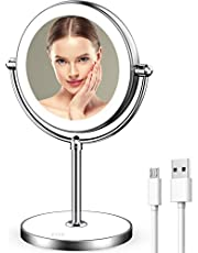 LVYOUIF Rechargeable Lighted Makeup Mirror with Dimmable Lights 7X Magnifying Mirror Double Sided Portable Magnified Mirror, Base Touch Button Wireless with Rechargeable Battery Shipped from AU