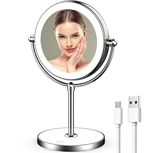 Rechargeable Lighted Makeup Mirror with Dimmable Lights 7X Magnifying Mirror Double Sided Portable Magnified Mirror…